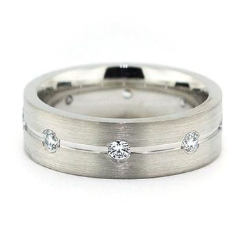 Men's Diamond  Wedding Band - Walk the Line