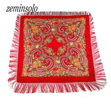 Russian Brand New Fashion Big Size Square Scarf Cotton Long Tassel Print Scarf In Spring Winter Shawl For Women Bandana Floural