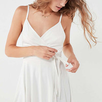 Kimchi Blue Veruca Cupro Wrap-Front Romper | Urban Outfitters