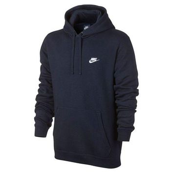 DCCKLO8 Nike Mens Sportswear Pull Over Club Hooded Sweatshirt - X-Large - Obsidian Blue/White