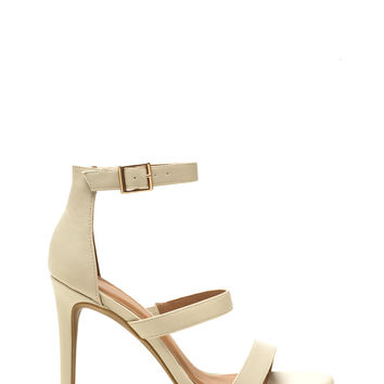Triple Crown Strappy Faux Leather Heels