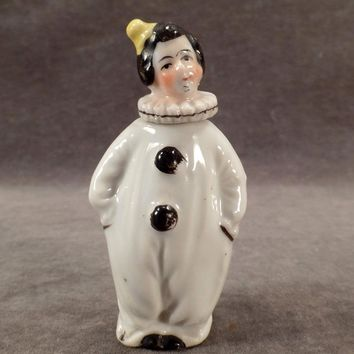 Vintage Porcelain Perfume Bottle - Little Clown / Pierrot Figurine in Black and White