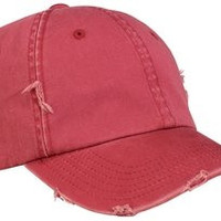 Upscale Trend Right Distressed 100% Cotton Hat Cap - Dashing Red