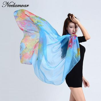 Top quality Winter spring silk Scarf oversize   Shawls  from india floral headband for 4 seasons scarves chiffon sunscreen cape