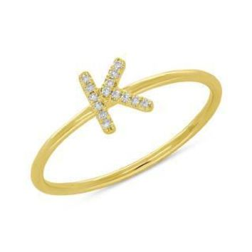 0.05ct 14k Yellow Gold Diamond Lady's Ring - Letter K