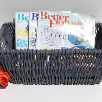 Gray Wicker Basket Veggie & Fruit Painted Mid Century Modern Woven Weave Dining Room Centerpiece Bathroom Soap Wedding Card Program Holder