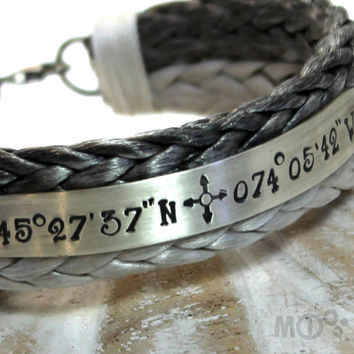 2 tones Personalized bracelet with Spectra rope and Sterling silver, longitude latitude engraved