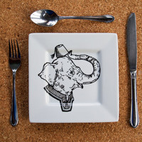 Mr Elephant Hand Painted Side Plate by RKArtwork on Etsy