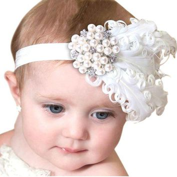 ONETOW Feather Headband Kids Crystal Beads Flower Pattern Hair Accessories For Little girls Princess Hairband Cheveux haar accessoires