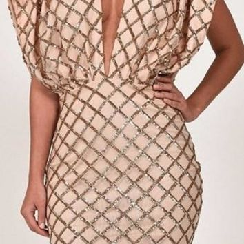 In The Deep Beige Gold Geometric Diamond Sequin Open Sleeve Plunge V Neck Deep V Neck Bodycon Mini Dress - Last One!