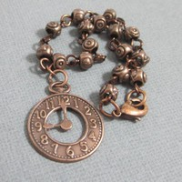 Copper charm bracelet with clock linked beads steampunk medium wrist