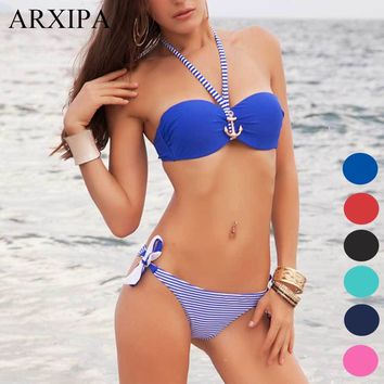 ARXIPA Halter Bandeau Bikini Sets 2018 Bandage Push Up Swimsuit Women Anchor Striped Brazilian Swimwear Bathing Suits Beachwear