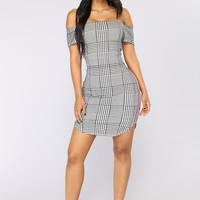 Race You There Houndstooth Dress - Black/White