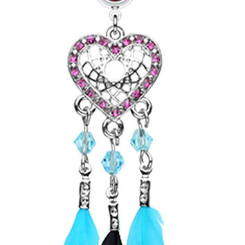 Glam Heart Dream Catcher Feathered Belly Button Ring