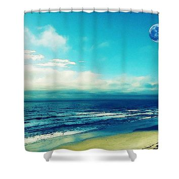 Salt, Sand, Sea,  Watercolor Art By Adam Asar - Asar Studios - Shower Curtain