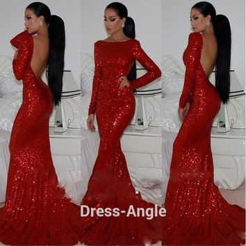 Fashionable Red Long Sleeve Mermaid Prom Dresses Backless Sexy Evening Party Gowns Vestido Robe De Soriee Long 2016