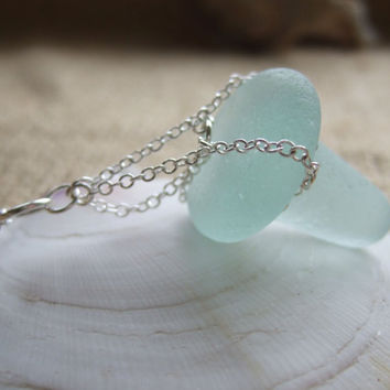 Purist sea glass stopper necklace...sea glass perfume bottle stopper necklace set in sterling silver chains on sterling silver chain