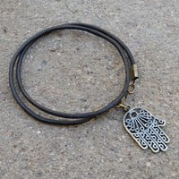 Protection - Greek Leather Wrap BraceletHamsa Hand