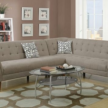 2 pc Retro modern collection sand velveteen fabric upholstered sectional sofa with tufted accents