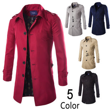 2015 Autumn Fashion Long Trench Coat Men Single Breasted Casual Outerwear Coat Men's Jackets Windbreaker Trench Coat 5 Colors