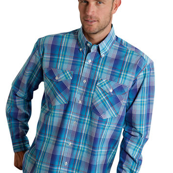 Roper Mens 9762 Breeze Plaid Amarillo Blue Regatta Long Sleeve Shirt Button Closure - 2 Pocket