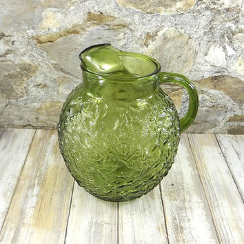 MId Century Avocado Green Lido Milano Crinkle Glass Pitcher from the 1960s
