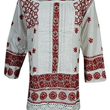 Mogul Womens Festive Tunic Top Cotton Red Chikankari Embroidered Indian Shirt Blouse