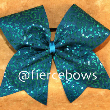 Teal Squiggle Sequin Cheer Bow