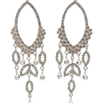 Indie XO Opera Night Silver Swarovski Crystal Rhinestone Fringe Chandelier Earrings