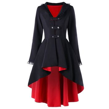 Back Lace Up High Low Gothic Coat