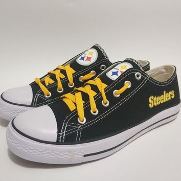 Hot 2018 2019 men women unisex Pittsburgh black fashion diy Shoes for Steelers fans gift size 35-44 0506-6