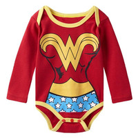 Baby Girls Superhero Wonder Woman Long Sleeves Onesuit
