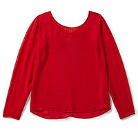 Soulmates Long-Sleeve X-Back Blouse - Red