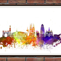 Barcelona Skyline Print, Watercolor Art, Barcelona Art, City Poster, City Skyline, Wall Art, Cityscape, Home Decor *3*