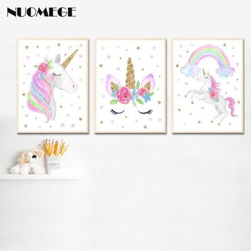 Nordic Nursery Series Poster Unicorn Rainbow Canvas Painting Wall Art Print Wall Picture Baby Bedroom Decor Cartoon Posters