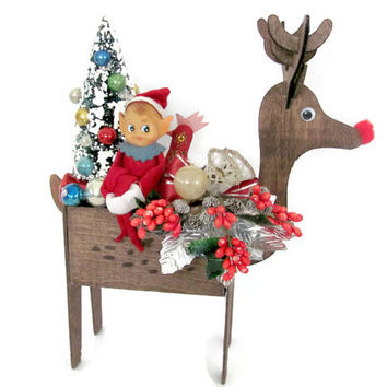 Upcycled Vintage Christmas Decoration, 1960's Wood Reindeer Planter, Elf Planter, Vintage Bottle Brush Tree, Kitsch, Christmas Decor