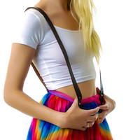UNIF Refraction Suspender Skirt Rainbow