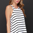 Dee Elle Chipper Chap Black and White Striped Tank Top