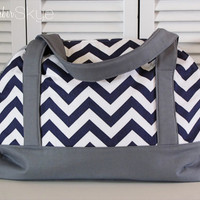 Navy/White Chevron and Solid Gray Weekender - Overnight Bag - Diaper Bag - Oversized Bag