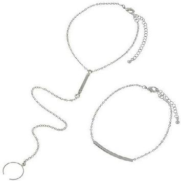 *Silvertone Anklet/Toe Ring  Set