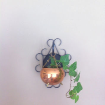 Copper Pot Planter Vintage Hanging Planter Mid Century Coppercraft Guild Miniature Cauldron