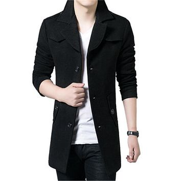 M-3XL Warm Wool Coats Men's Winter Wool Jackets And Coats Mens Fur Collar Casual Single Breasted Thicken Male Woolen Coat Size