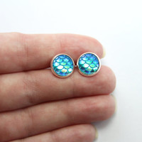 NEW - Mermaid Scale Aqua Blue/Yellow/Green Iridescent Earrings - Posts/Studs 10mm MEDIUM
