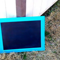 Vintage Chalkboard in Aqua//Turquoise Lightly Distressed