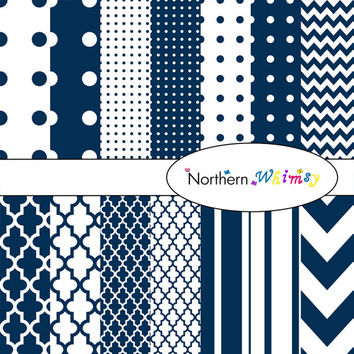 Digital Scrapbooking Paper Background Set – navy blue patterns – chevron , quatrefoil , polka dot  , stripe , INSTANT DOWNLOAD
