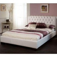 Limelight | Aries White Faux Leather Bed Frame | bedsdirectuk.net