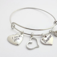 Daughter Heart Bracelet ~ Daughter Heart Charm I Love You Bangle , Gift for Daughter from Mom Dad Stepmom Stepdad ,  Daughter Birthday Gift