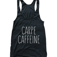 Carpe Caffeine Tri Blend Athletic Racerback Tank Top