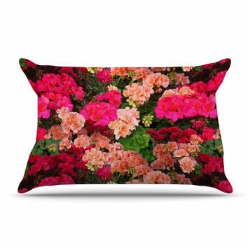 "Louise Machado ""Geranios"" Pink Floral Pillow Case"