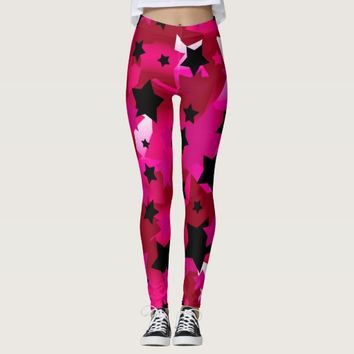Punk Rock Stars Pink Leggings
